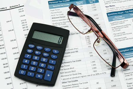 financial accounting concept. statement,calculations and taxes photo