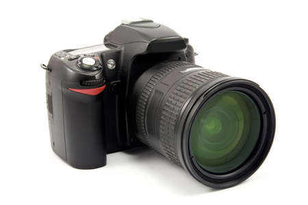 megapixel: photo camera with zoom lens over white Stock Photo