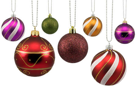 glass sphere: colorful ornate christmas baubles, isolated on white