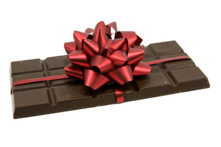 Black Chocolate with red ribbon and bow  Stock Photo