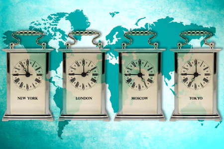 timezone: business travel concept. Timezone clocks showing different time  Stock Photo