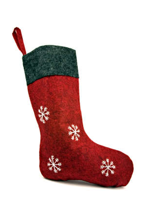 red christmas sock isolated on white background photo