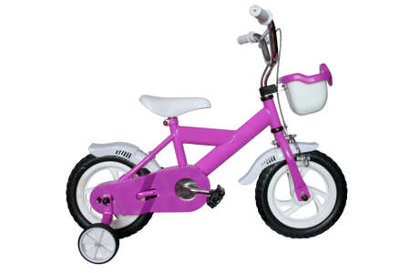 purple childrens bicycle isolated on white background Stock Photo