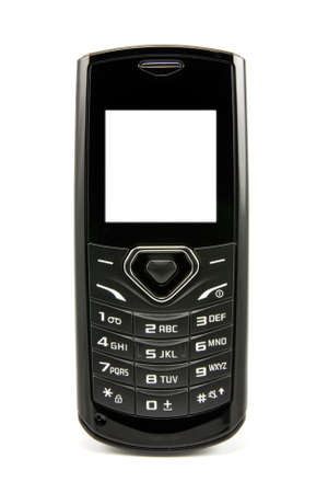 black mobile phone with the bright screen on white background photo