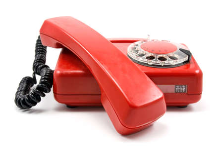 red old scratched phone on white background Stock Photo - 8548204