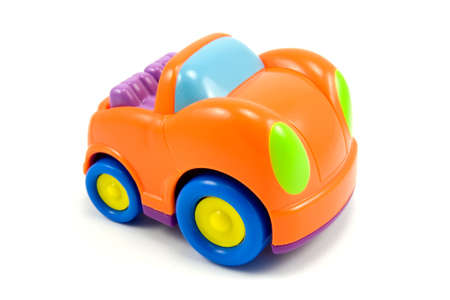 colorful vivid plastic car on a white background
