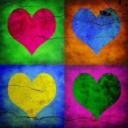 cuatro elementos: Tarjeta de San Valentín. Cuatro corazones con diferentes colores  Foto de archivo