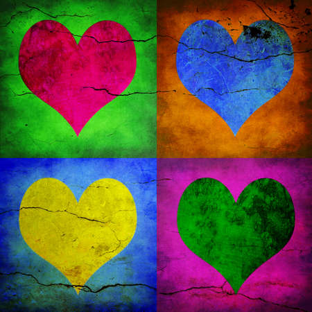 Valentine card. Four hearts with different colors