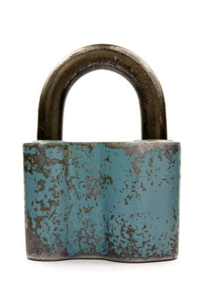 old blue padlock on a white background photo