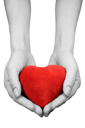 hands with heart isolated on white background