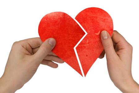 veszekedés:  male and female holding broken heart. Isolated on white