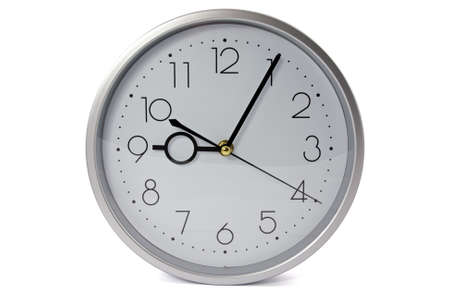 silver wall clock  over a white background Stock Photo - 9112967