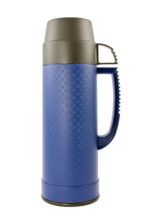 blue thermo flask  on a white background photo