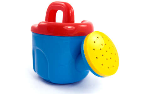 wateringcan: Childs plastic colorful watering-can  on white background Stock Photo