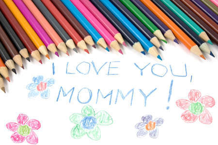 Kids mothers day drawing and colorful pencils photo