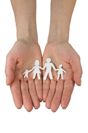 togetherness concept. hands with paper chain of family Stock Photo