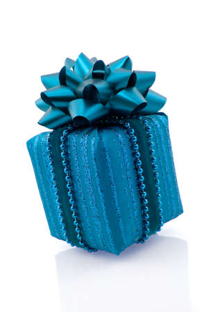 blue gift on white background with reflection Stock Photo