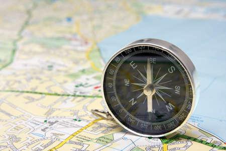 black compass on Dublin city map background. photo