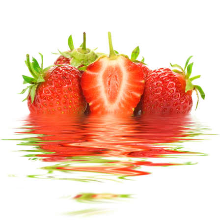 strawberries with water reflection on white background.