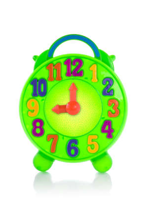 colorful toy clock for kid, isolated on white . Stock Photo - 9756731