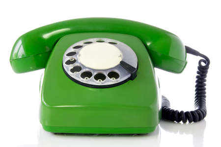 green retro telephone isolated on white background. Stock Photo