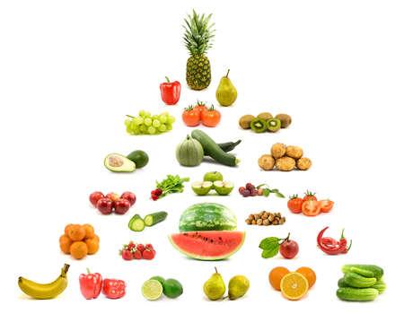 dieet en voeding. piramide van groenten en fruit.