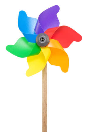 Colorful pinwheel isolated on a white background. Stock Photo