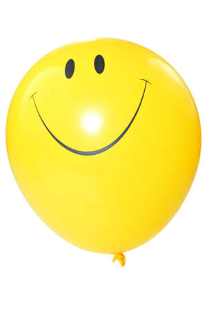 Smiley faced ballon geà ¯ soleerd op witte achtergrond.