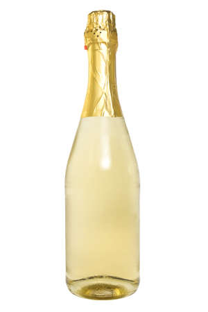 bottle of champagne over a white background. photo