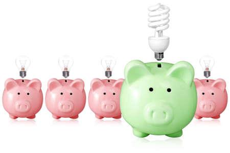 concept voor energiebesparing. Piggy banks en gloeilampen.