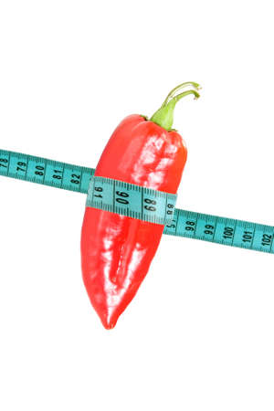 signify: pepper wrapped with measuring tape to signify weight loss.