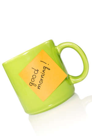 green cup with note
