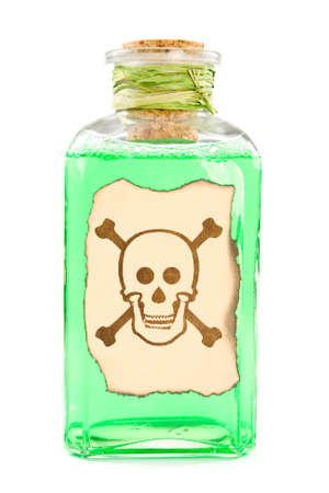 Glass bottle with a green toxic chemical solution. Stock Photo - 10463550