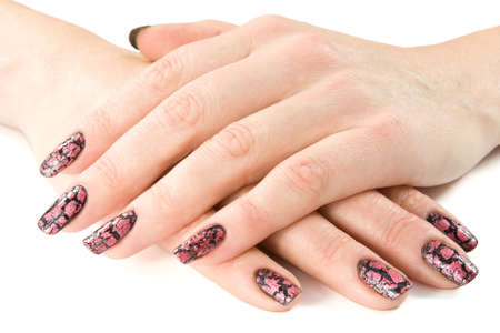 young woman's hands with a nice manicure.