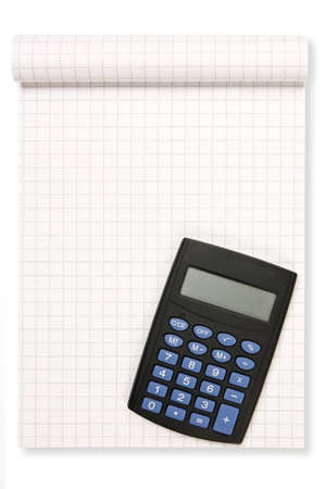 block note:  block note with black calculator over a white background