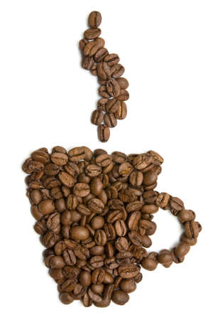 cup of coffee made from beans. isolated on white background  photo