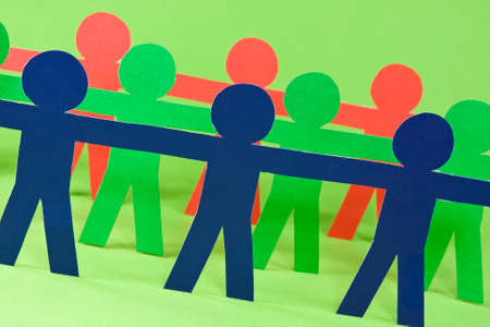 cooperative: paper people doing teamwork in their business