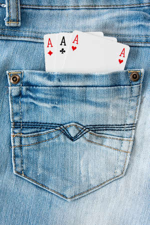cheater: three aces in the blue  jeans  pocket Stock Photo