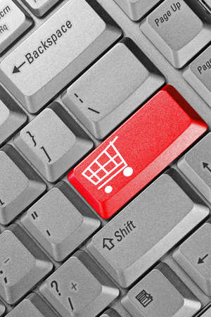 close up of keyboard with shopping cart on a button Stock Photo - 11242125