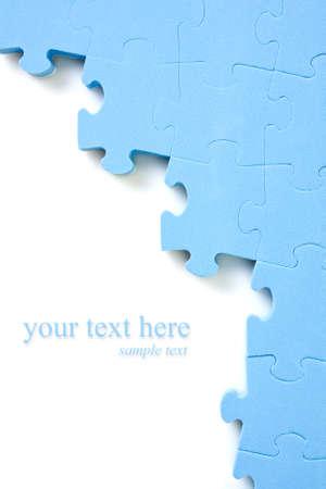 jigsaws: puzzle di sfondo blu con spazio per il testo Archivio Fotografico