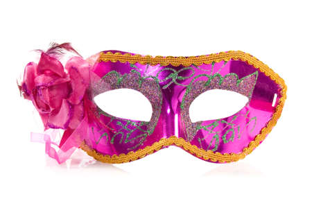 feathered: vivid carnival mask over a white background Stock Photo