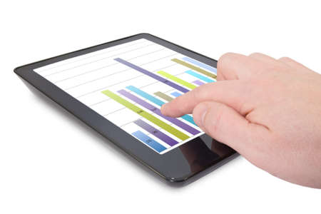 hand and Tablet computer with business graph  Stock Photo - 11831155