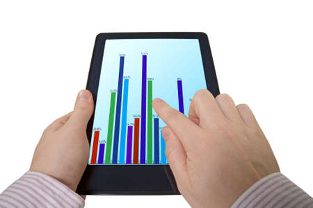 businessman pointing the graph on touch-pad computer Stock Photo - 11831197