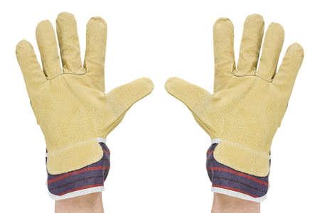 twee handen met werkhandschoenen. geïsoleerd op een witte achtergrond