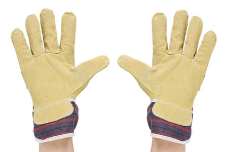work glove: two hands with work gloves. isolated on a white background