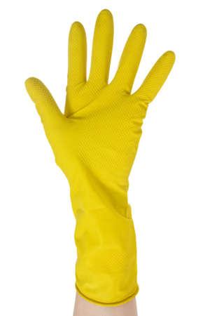 lavar platos: Mano en guante amarillo aislado sobre fondo blanco Foto de archivo