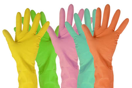 five color  gloves isolated on white background Stock Photo
