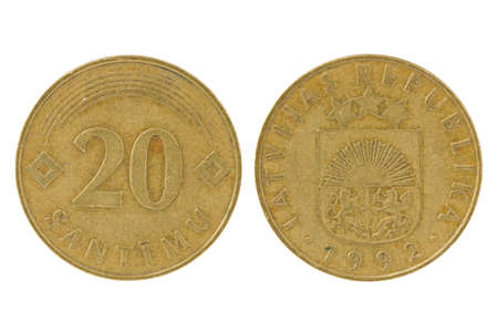 obverse: Obverse and reverse of 20 latvian santims. Isolated on white background
