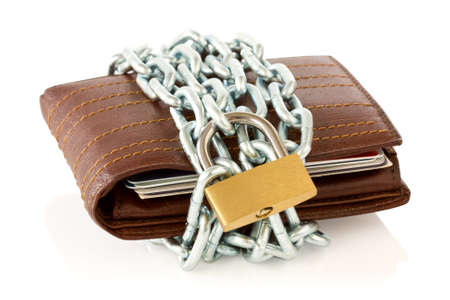 Wallet in chains with padlock on white background photo