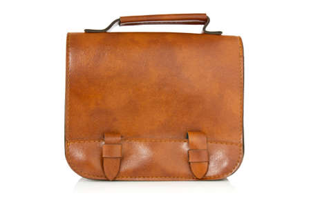 saddlebag: brown leather bag with reflection on white background  Stock Photo